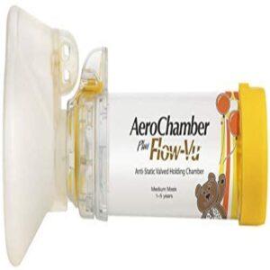 Aerochamber Plus Flow-Vu anti-static valved holding chamber with MEDIUM CHILDS MASK (1-5 years), Yellow