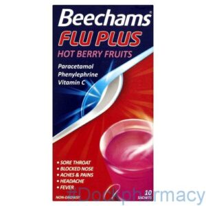 Beechams Flu Plus Stick Hot Berry Fruit 10