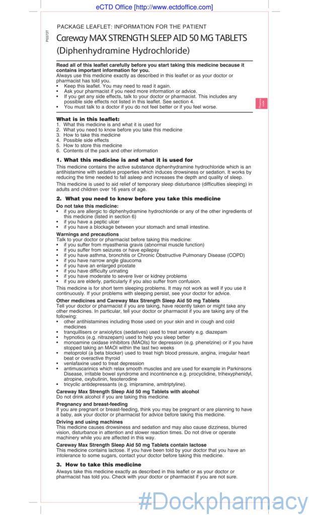 patient information leaflet careway sleep aid