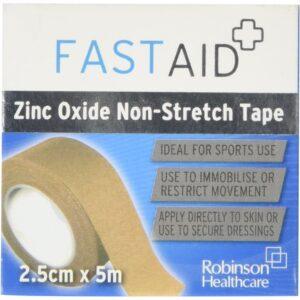 Robinson Healthcare 4483 Fast Aid Zinc Oxide Non-Stretch Tape, 2.5cm x 5m