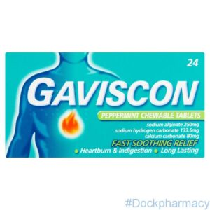Gaviscon Chewable Tablets Peppermint Heartburn-Indigestion Relief 24 pack