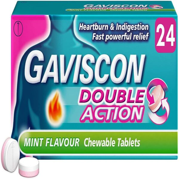 Gaviscon Double Action Heartburn And Indigestion Mint Tablets