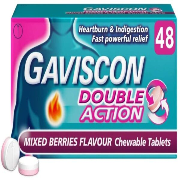 Gaviscon Double Action Heartburn and Indigestion Tablets Mixed Berries