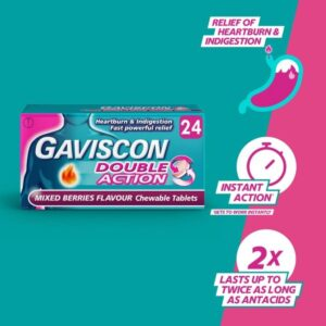 Gaviscon Double Action Mixed Berries Flavour Chewable Tablets