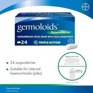 Germoloids Hemorrhoid Treatment & Piles Treatment Suppositories 24s