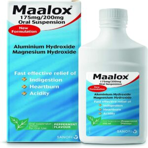 Maalox Oral Suspension Indigestion Relief Peppermint Flavour