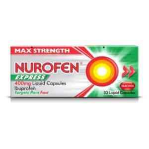 Nurofen Express 400mg Liquid Capsules, 10 Capsules