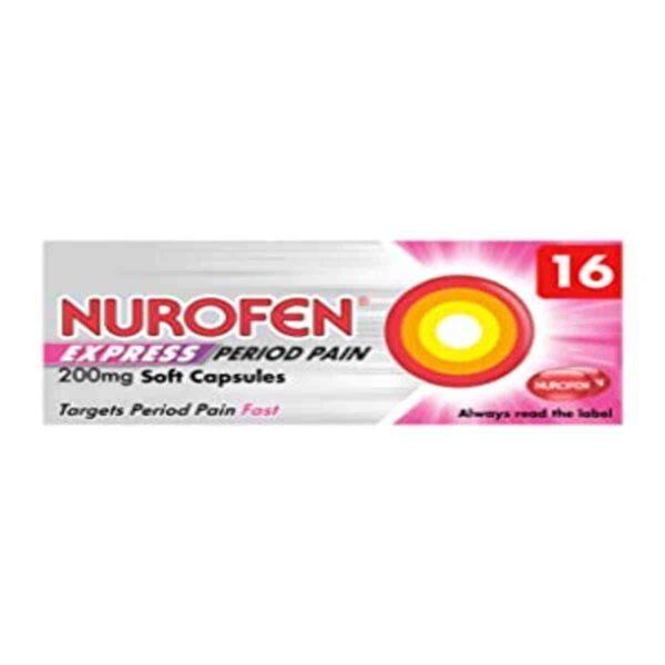 Nurofen Express Period Pain 200mg Soft Capsules, 16 Capsules