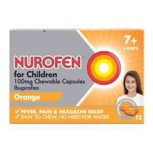 Nurofen For Children Chewable Capsules Orange Flavour, 12 Capsules