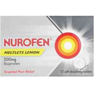 Nurofen Meltlets Lemon 200mg Ibuprofen Tablets, 12 Meltlets