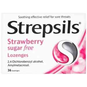 Strepsils Strawberry Sugar Free Lozenges