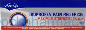 Vantage Ibuprofen Gel Max Strength 10%, 50g