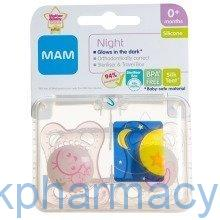 Mam Night Soother 0+Months Mixed, Twin Pack