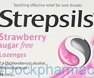 Strepsils Strawberry Sugar Free, 36 Lozenges