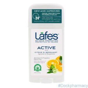 Lafes Natural Body Care Deodorant Twist Stick, Active