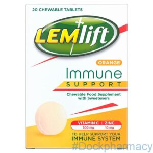 Lemlift Immune Support Orange Chewable Tablets Vitamin C (500mg) and Zinc (10mg), 20 Tablets