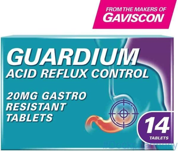 GUARDIUM Tablets Heartburn and Acid Reflux Control by Gaviscon, Pack of 14