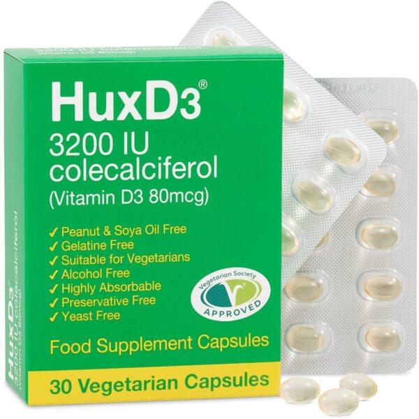 HuxD3 Vitamin D3 3200iu Vegetarian Capsules