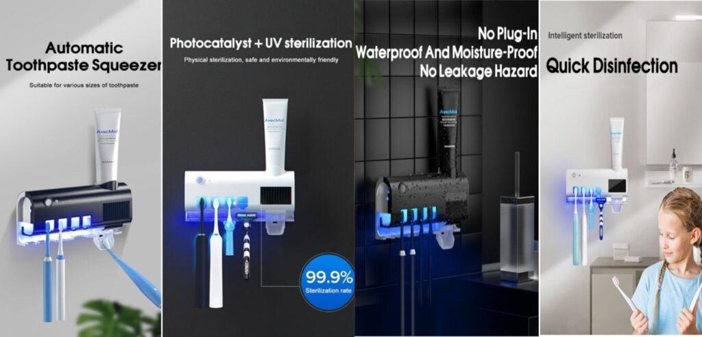 UV toothbrush sanitizer holder