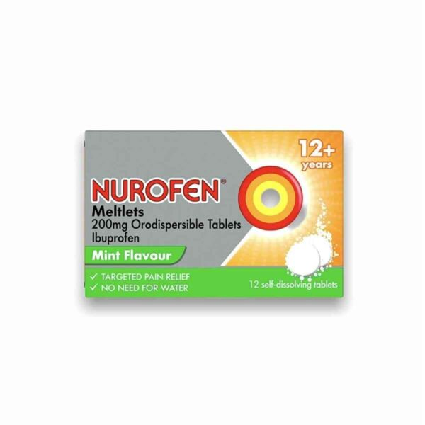Nurofen Ibuprofen 200mg Meltlets Mint Flavour, 12 Meltlets